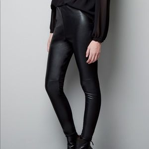 Zara Basic Vegan Leather Leggings NWT